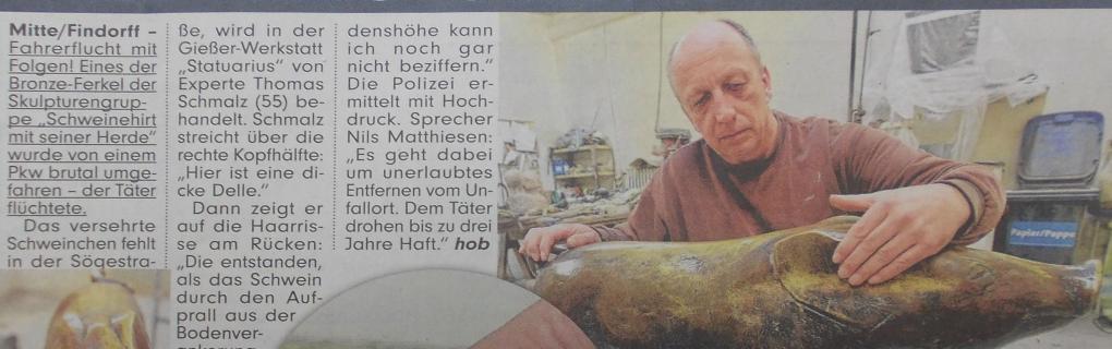 Pressebericht Bild-Zeitung, SAUber! Erste Hilfe fürs Bronze-Schweinchen