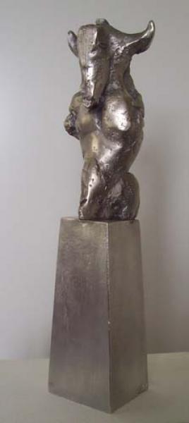 Bronzeskulptur Bärbel Dieckmann, Berlin, Bronze versilbert
