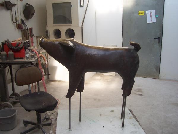 Bronzeskulptur Schweine in der Bremer Sögestraße, Peter Lehmann, Worpswede