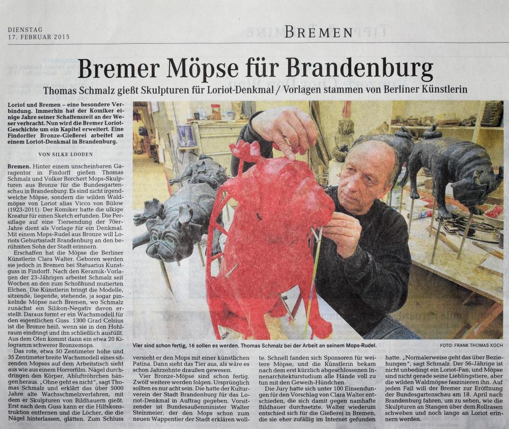 Pressebericht Bremer Möpse für Brandenburg, Weser-Kurier